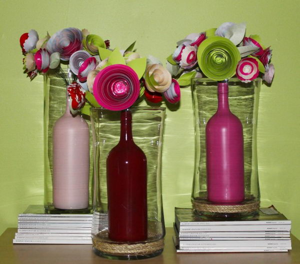 Upcycling Inspiration Pack-Insanely Beautiful DIY Wine Bottle Centerpieces That You Should Try homesthetics decor (4)