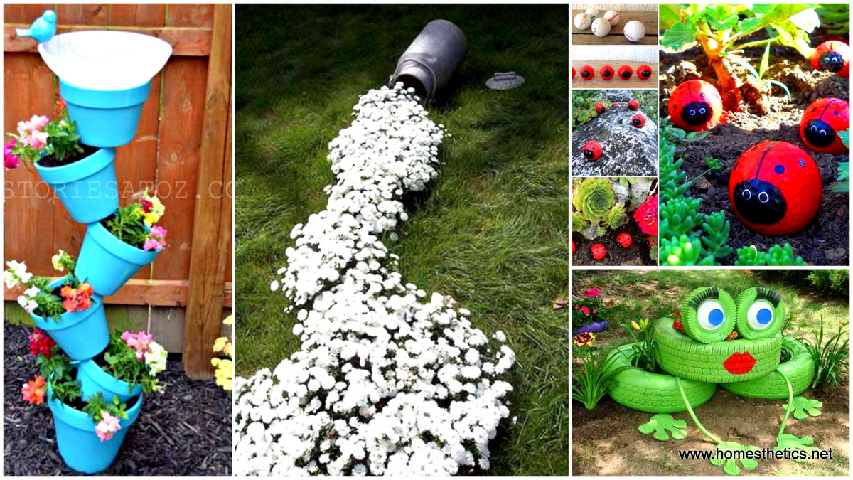 34 cheap diy art projects to beautify your backyard landscape for Diy home garden design