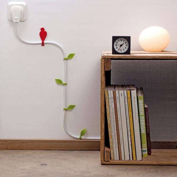 2. ATTACH THE WIRES TO THE WALL WITH BIRDS AND LEAVES