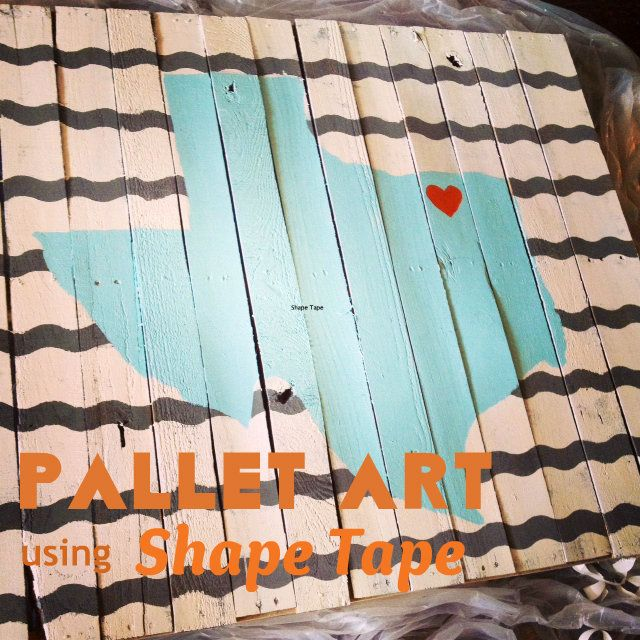 #12 PALLET WALL ART CRAFT THAT USES SHAPE TAPE