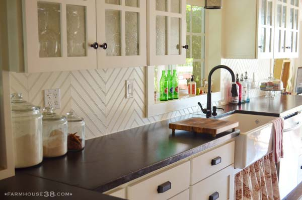 2. Herringbone Beadboard Backsplash