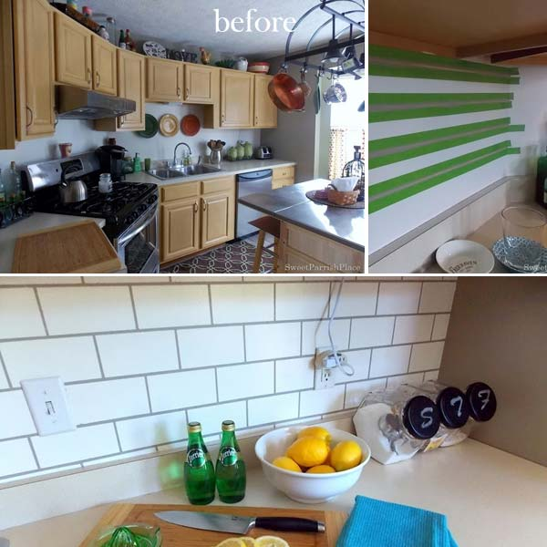13. Painted subway backsplash