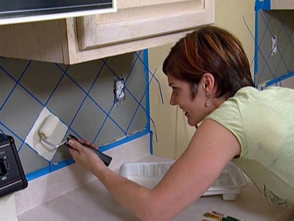 6. Painting faux tile backsplash