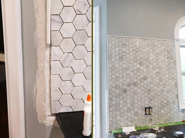 8. Geometric pattern backsplash