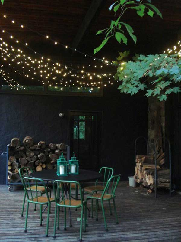 Delicieux Rustic Patio Designed With String Lights