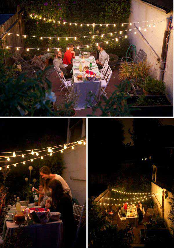 24 jaw dropping beautiful yard and patio string lighting for Balcony lights