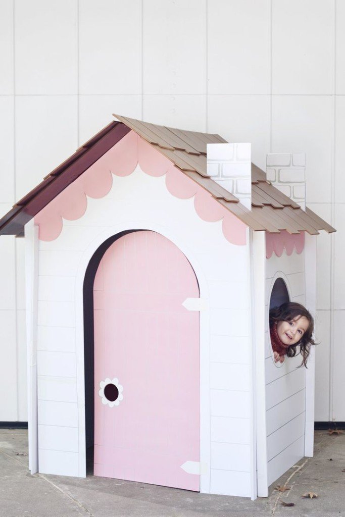 1.FAIRY TALE WHITE AND PINK CARDBOARD HOUSE