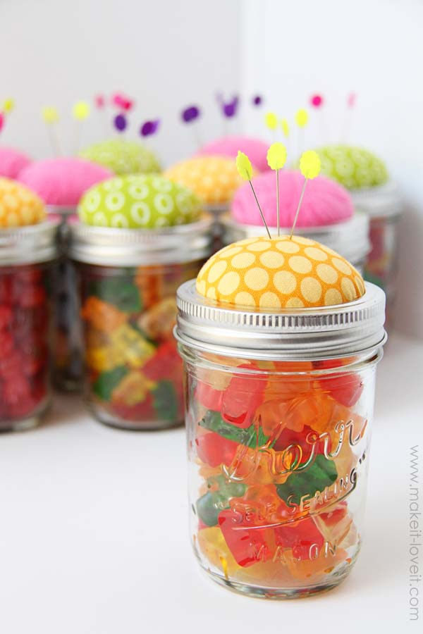 22 Candy Filled Colorful Pin Cushion Jars