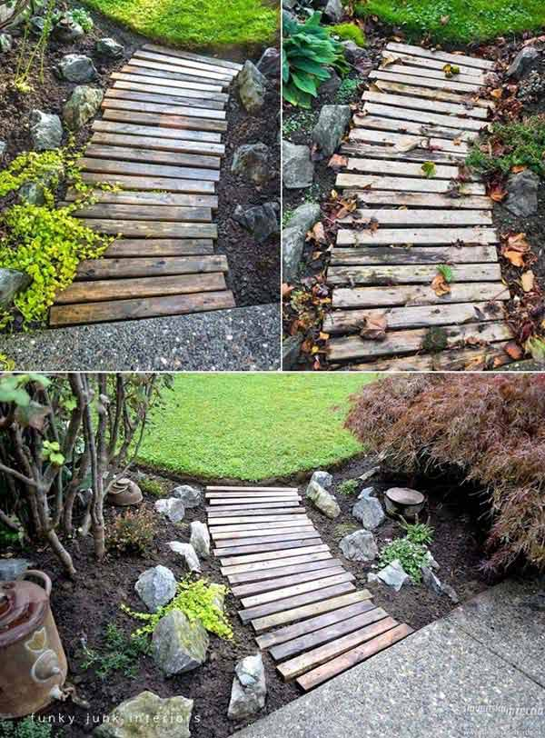 #1 USE SALVAGED WOOD FROM BROKEN PALLETS TO CREATE GARDEN PATHS