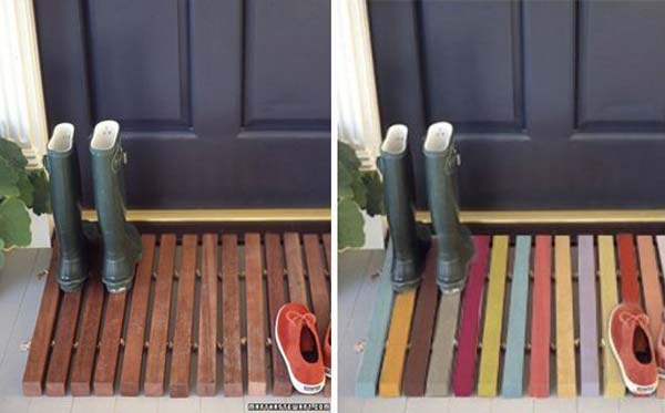 #21 DOOR WOODEN WELCOME MAT WEARING COLOR