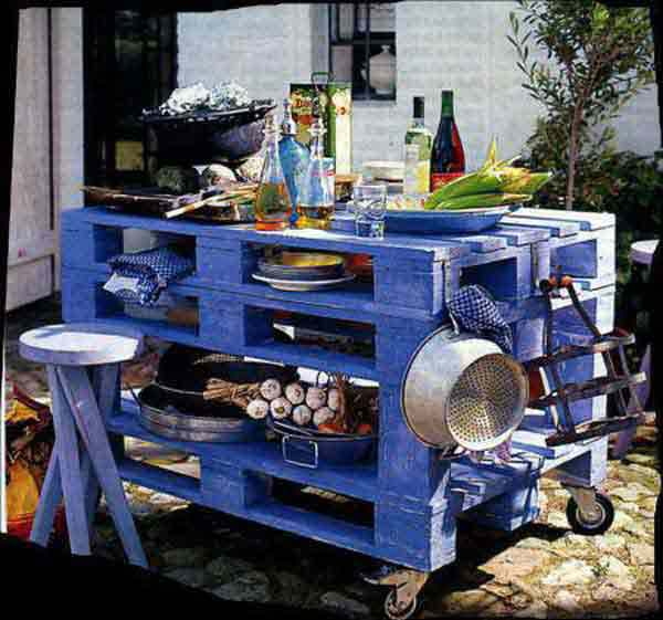 #25 WOODEN COOKING KITCHEN ISLE OUTDOOR USE