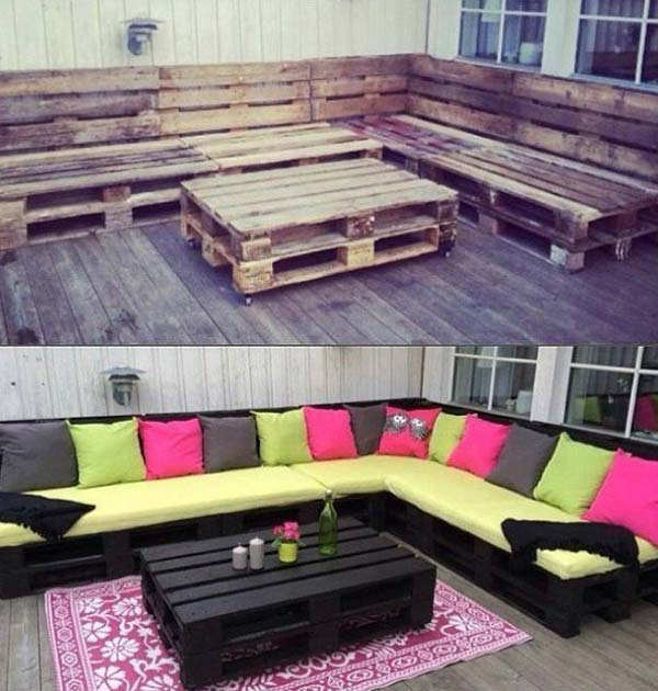 #3 USE MULTIPLE WOODEN PALLETS TO CREATE A CORNER SOFA ON THE PATIO
