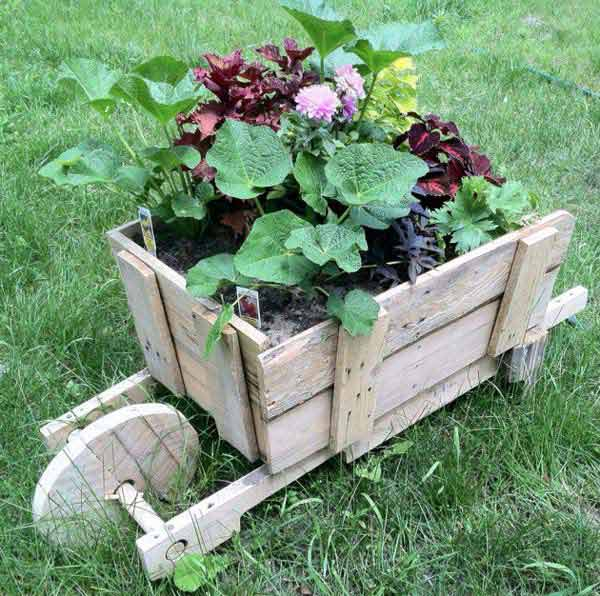 #37 WOODEN WHEELBARROW FLOWER PLANTER