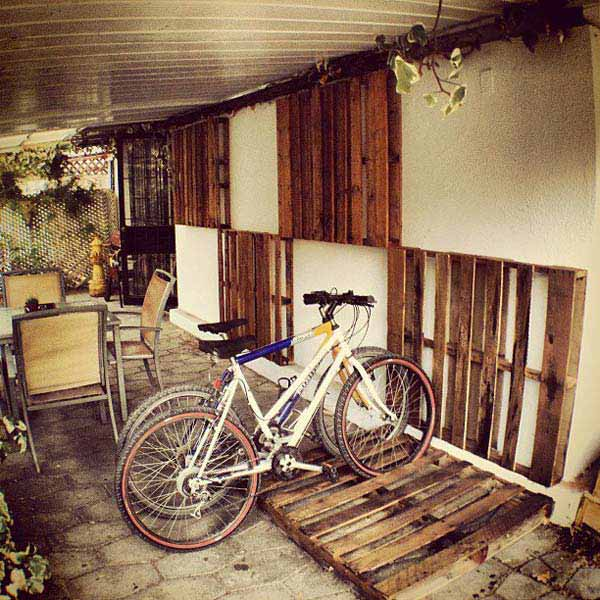 #8 YOU CAN USE WOODEN PALLETS AS BICYCLE RACKS OR WALL ART