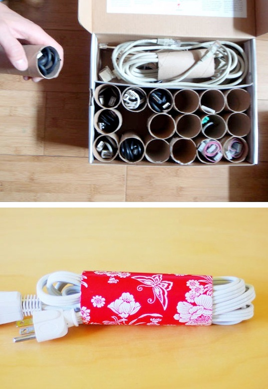 56. ORGANIZE POWER CORDS WITH TOILET PAPER ROLLS