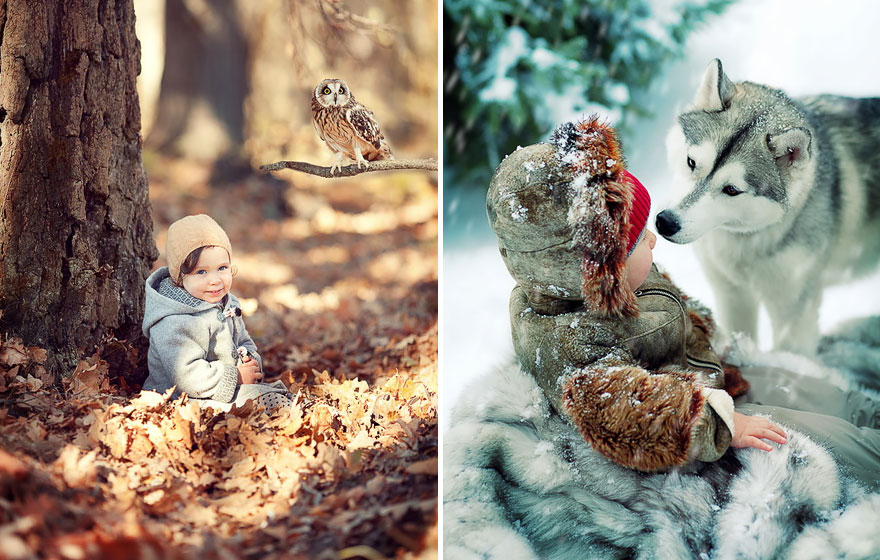 Children And Animals Cuddle In Cute Photoshoots By Russian Photographer Elena Karneeva homesthetics decor (11)