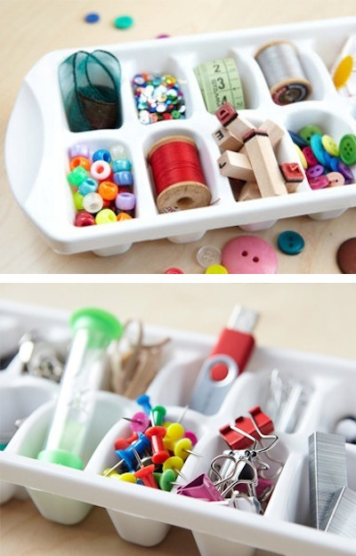 47. ORGANIZE YOUR SMALL OFFICE SUPPLIES IN ICE TRAYS