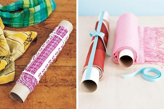 38. KEEP SCARFS FROM WRINKLING WITH PAPER TUBES