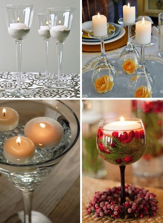 32. WINE GLASSES CANDLE HOLDERS