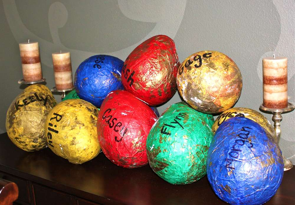 18. DINOSAUR EGG GIFT Paper Mache BAGS VIA CATCH MY PARTY