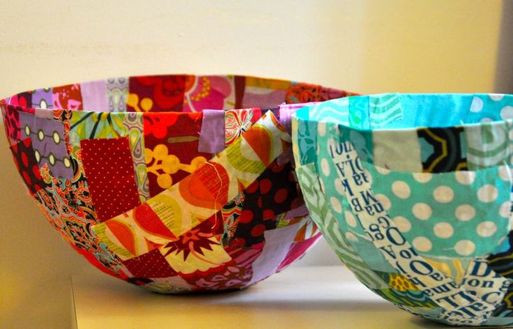 Scrap fabric bowl from Bread \u0026 Buttons & Top 30 Crafty Paper Mache Projects You Can Try For Yourself