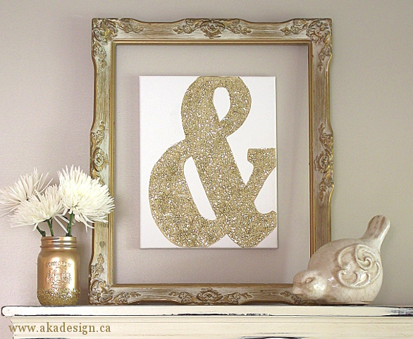 Gold Frame Containing Glittered Wall Art Piece
