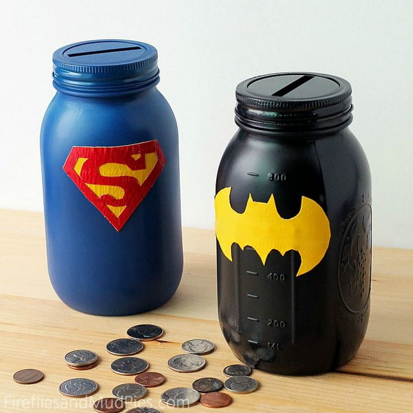 #4 SUPER EASY MASON JAR SUPERHERO BANKS