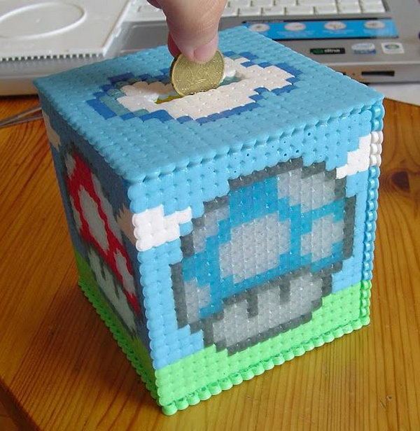 #14 MARIO HAMA BEAD USED AS A PIGGY BANK