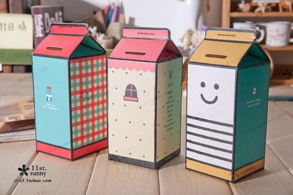 #15 DIFFERENT MILK BOXES USED CREATIVELY AS PIGGY BANKS