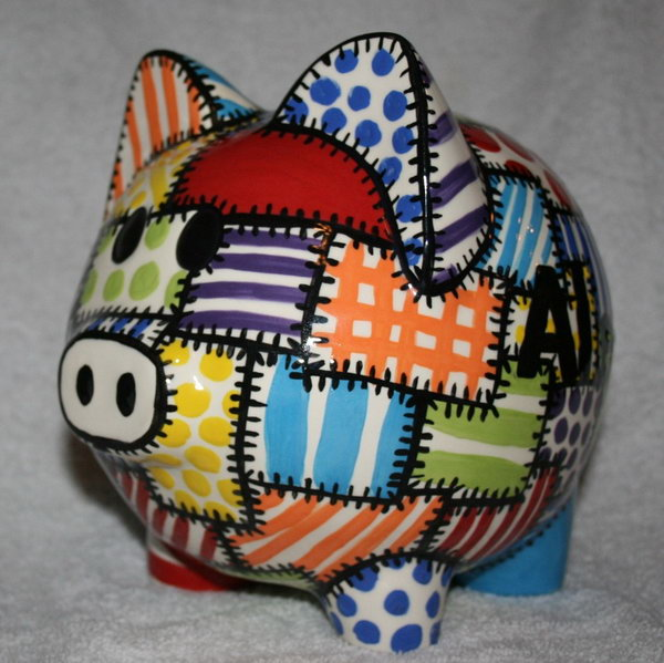 #7 GREAT PIGGY BANK WITH QUILTED COLORS
