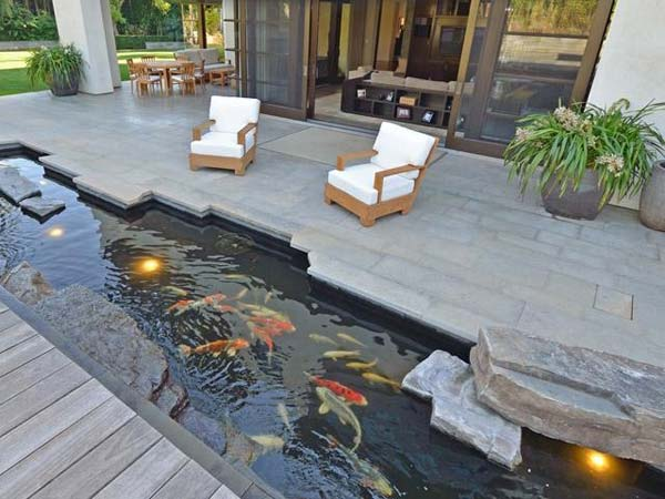 Perfect ... Patio Complemented By Fish Pond. 21+ Small Garden Ideas That Will  Beautify Your Green World [Backyard Aquariums Included]