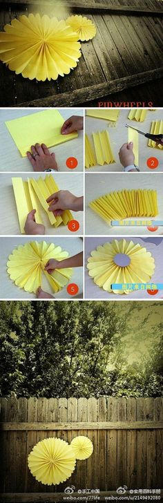 Simple Folded Yellow Paper Medallions Welcoming Spring