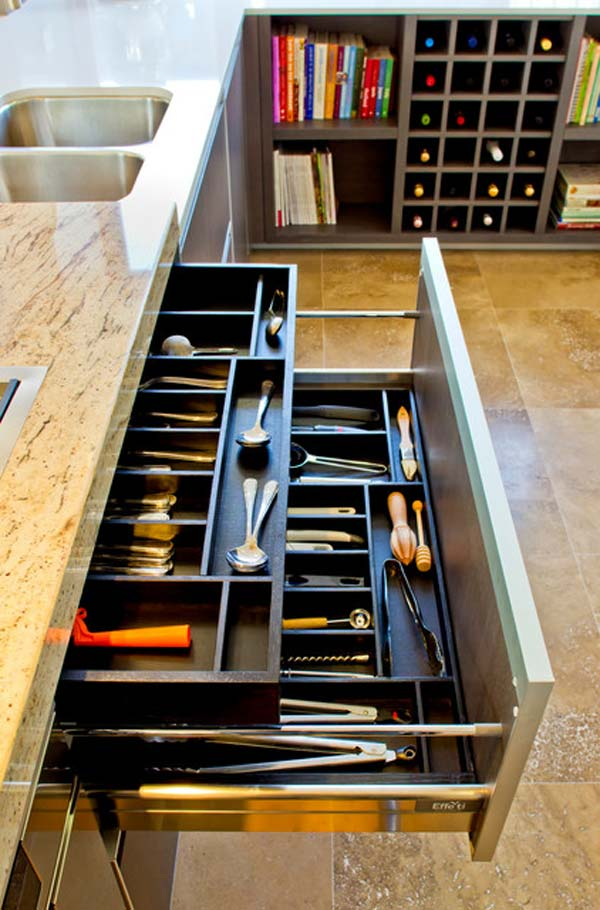 27 ingenious diy cutlery storage solution projects that for Kitchen countertop storage solutions