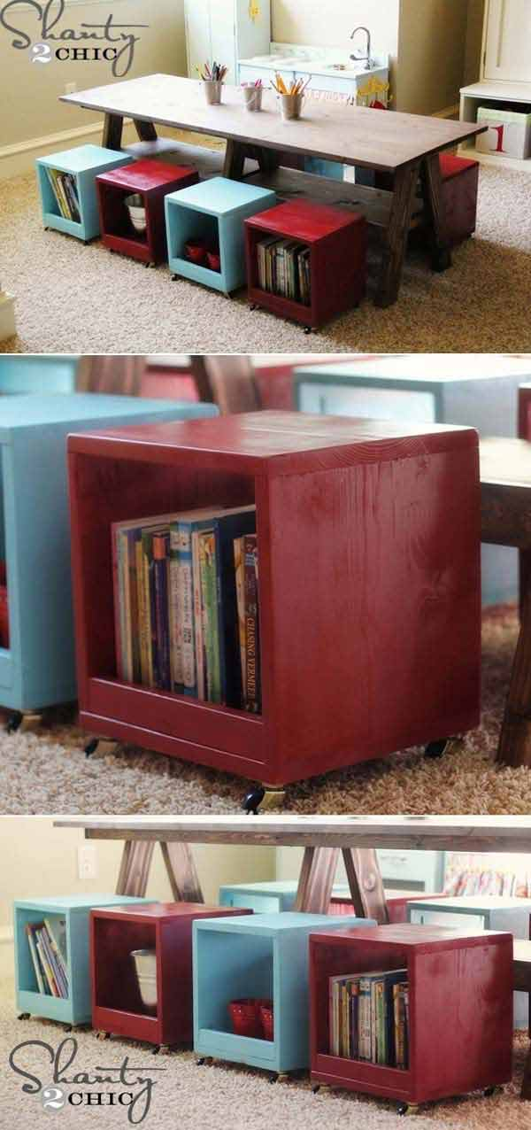 Rolling Storage Cubes Doubling As Chairs