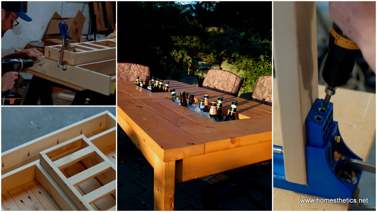 How To Build A DIY Patio Table With Built-in Beer/Wine Coolers