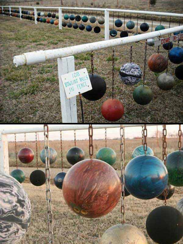 26.UNIQUE AND UNUSUAL BOWLING BALL FENCE