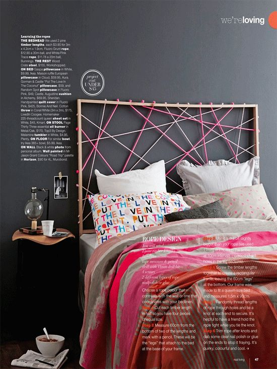 Colorful Simple and Beautiful String Headboard Design