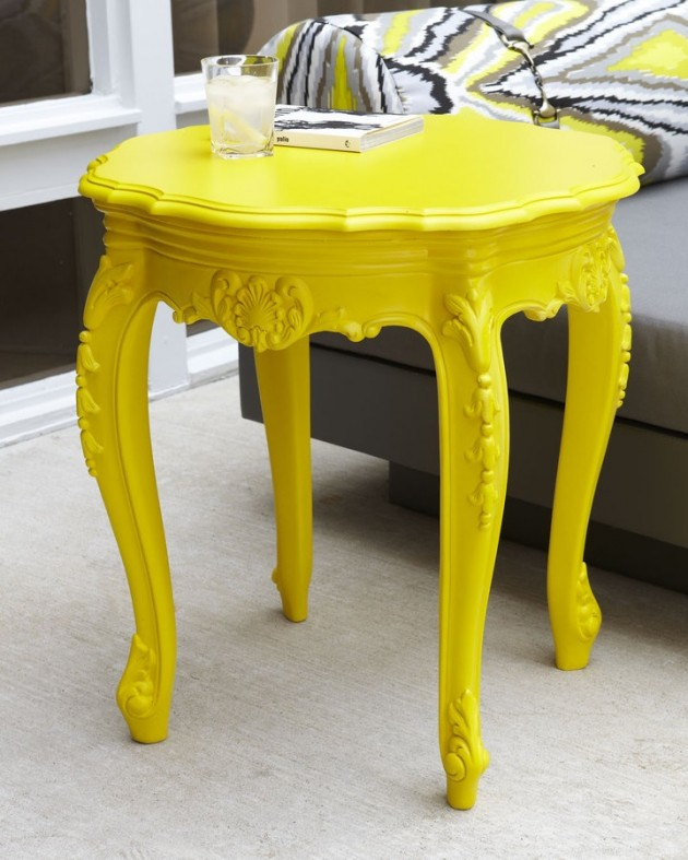 #7 Restored Side Table Wearing A Bold Yellow
