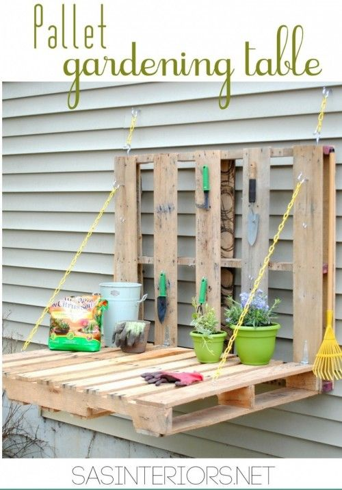 #13 FOLDABLE PALLET GARDENING TABLE