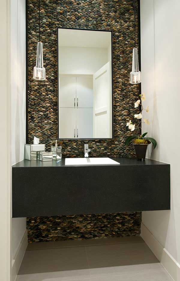 Merveilleux Breathtaking Eye Catching River Rock Bathroom Wall