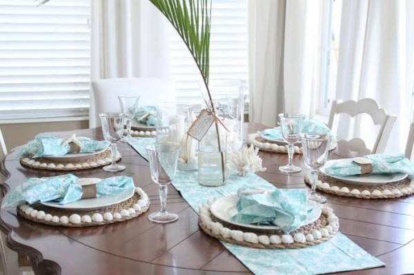 #12 Transparent Airy Table Setting Beautified Through Teal & 12 Mesmerizing Beautiful and Fresh Summer Table Decoration Ideas