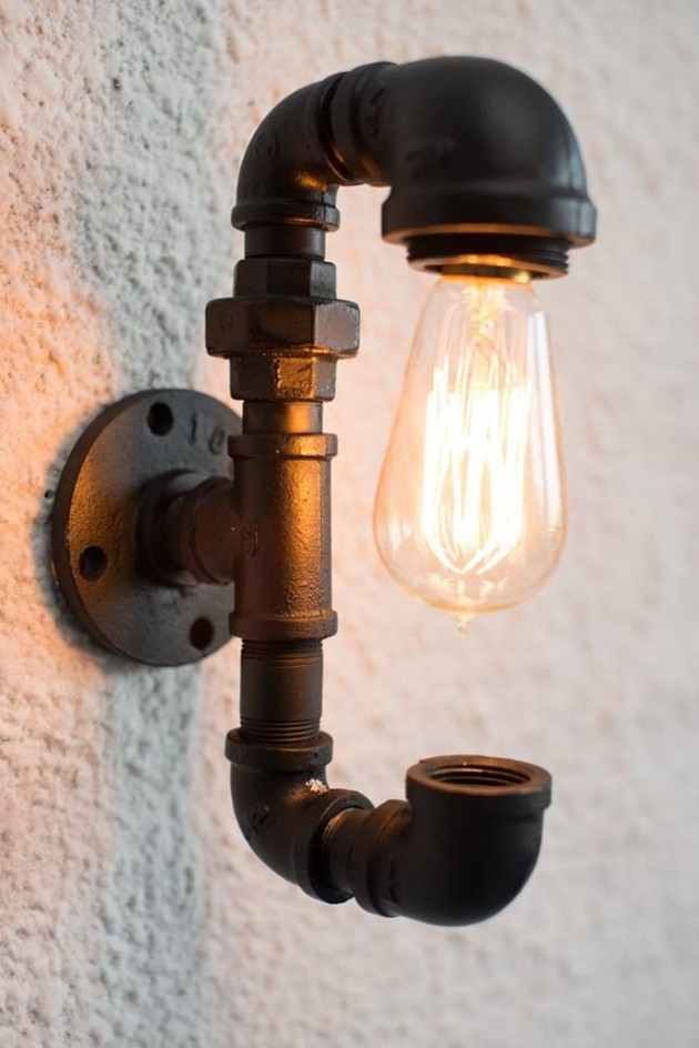 #2 Wall Lighting Fixture With Spectacular Light Bulb & 16 Sculptural Industrial DIY Pipe Lamp Design Ideas Able to ...