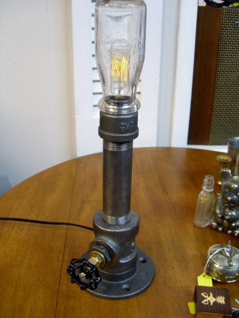 #6 SIDE-TABLE INDUSTRIAL LAMP WITH SOLD APPAREL