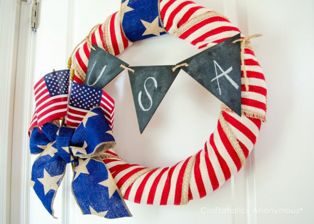 17 patriotic diy wreath ideas ready to welcome guests for Patriotic welcome home decorations