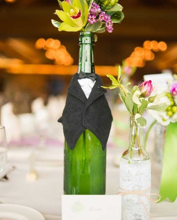 #13 Two Elegantly Dressed Wine Bottle Centerpieces