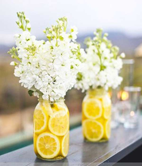 #19 Lemon Filled Mason Jars Filled With Elder Flower