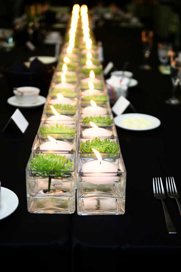 #3 Floating Candles Combined Playfully With Green Dandelions in a Centerpiece