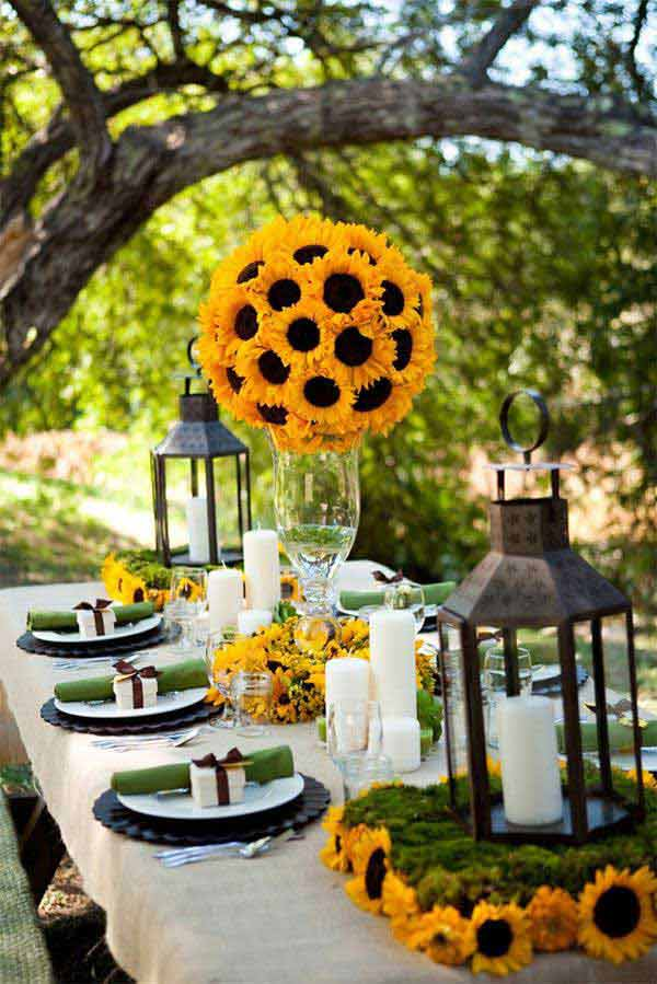 8 Sunflower Wedding Centerpiece Working as a Focal Point in a Fairy Tale Decor
