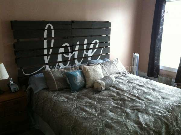 18. PALLETS HEADBOARD DISPLAYING LOVE AND STYLE