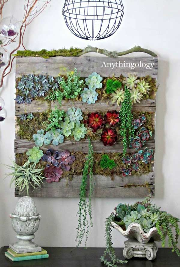 8. TEDIOUS VERTICAL PLANTER HOLDING SUCCULENTS REALIZED OUT OF WOODEN PALLETS